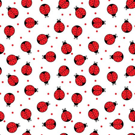 ladybug: Seamless pattern made of illustrated ladybugs on white