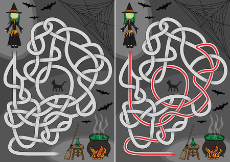 Witch maze for kids with a solution Ilustrace