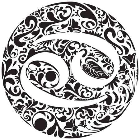 cancer zodiac: Cancer zodiac sign made of black floral elements