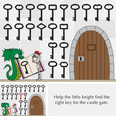 Illustrated puzzle for kids - help little knight find the right key for the castle gate