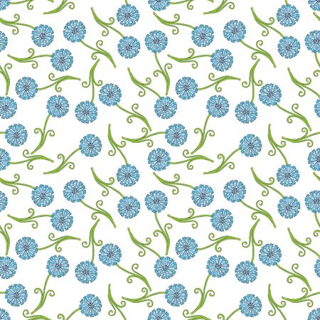 flourishing: Seamless pattern made of blue illustrated flowers on white Illustration