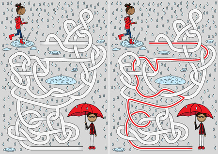 Rainy day maze for kids with a solution
