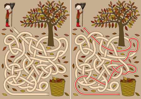 brain puzzle: Autumn maze for kids with a solution
