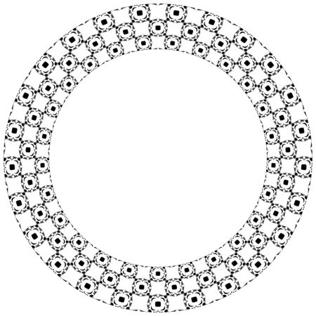 black circle: Decorative illustrated circle frame made of portuguese tiles in black and white Illustration