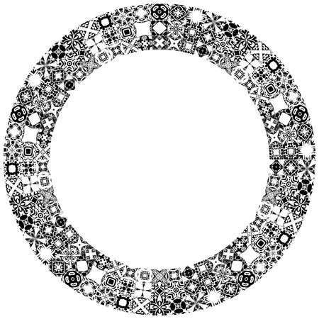 white tile: Decorative illustrated circle frame made of portuguese tiles in black and white Illustration