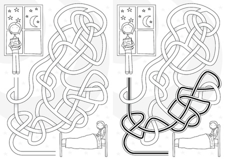 bedtime story: Bedtime story maze for kids with a solution in black and white