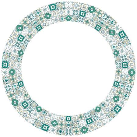 portuguese: Decorative illustrated circle frame made of portuguese tiles