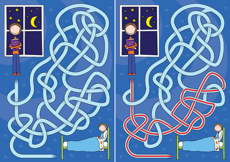 bedtime story: Bedtime story maze for kids with a solution Illustration