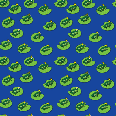 princes: Seamless pattern made of illustrated frog princes on blue background Illustration