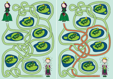 frog prince: The frog prince maze for kids with a solution
