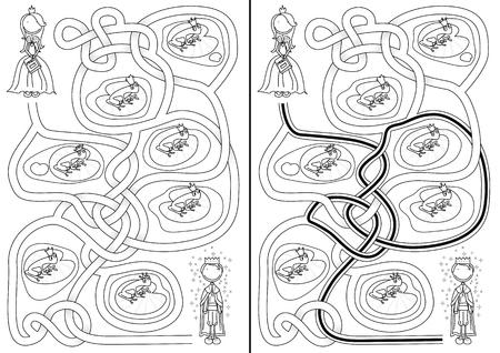 principe rana: El laberinto pr�ncipe de la rana para los ni�os con una soluci�n en blanco y negro