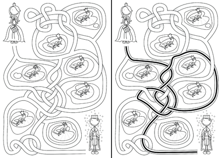 frog prince: The frog prince maze for kids with a solution in black and white