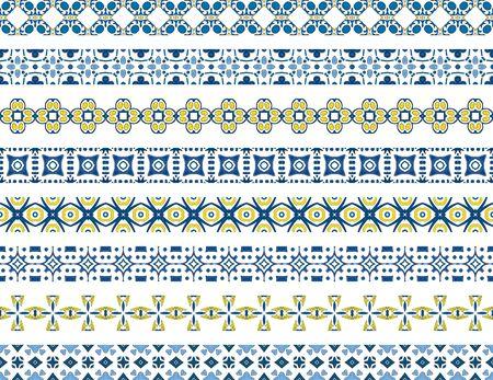 bordi decorativi: Set of eight illustrated decorative borders made of Portuguese tiles