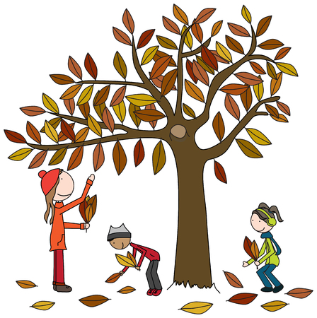 Cartoon illustration of a mother, a boy and a girl collecting autumn leaves