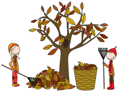 raking: Cartoon illustration of boy and girl raking autumn leaves Illustration