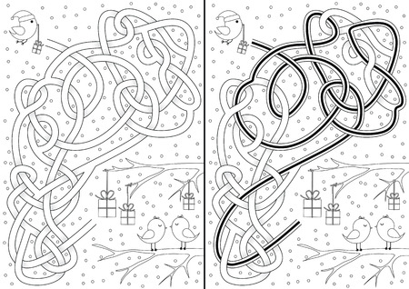 cartoon present: Christmas maze with little birds and a solution in black and white Illustration