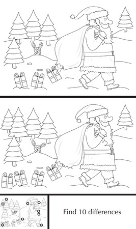 spot the difference: Educational game for preschool kids - finding differences - cartoon illustration of Santa Claus losing presents with a solution in black and white