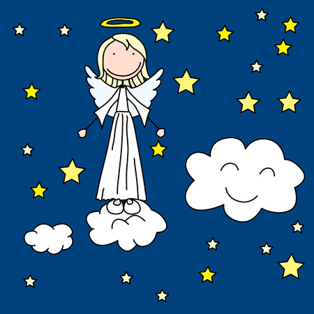 angel girl: Cartoon illustration of a little angel girl standing on a cloud at night Illustration