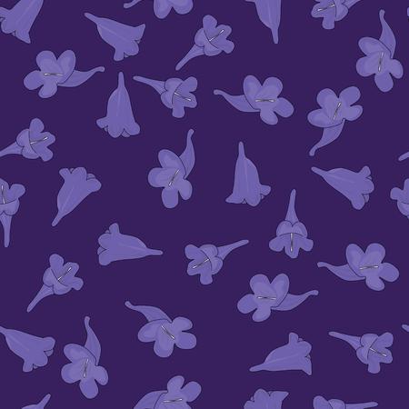 Seamless pattern made of illustrated jacaranda flowers