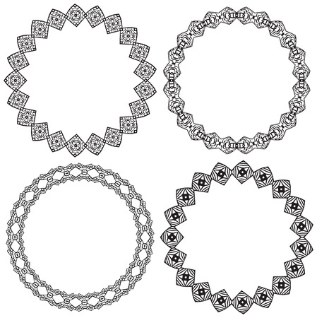 coloring sheet: Set of decorative illustrated circle frames made of hand drawn elements - coloring sheet for adults