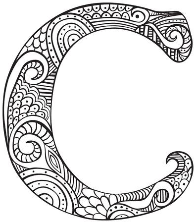 Lettre majuscule C dessinée à la main en noir - Coloriage pour adultes Banque d'images - 51858402