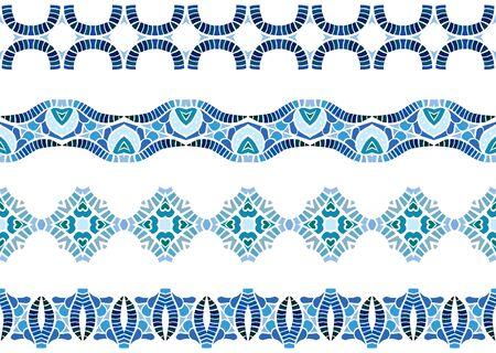 Ensemble de quatre bordures décoratives illustrées en éléments abstraits bleus