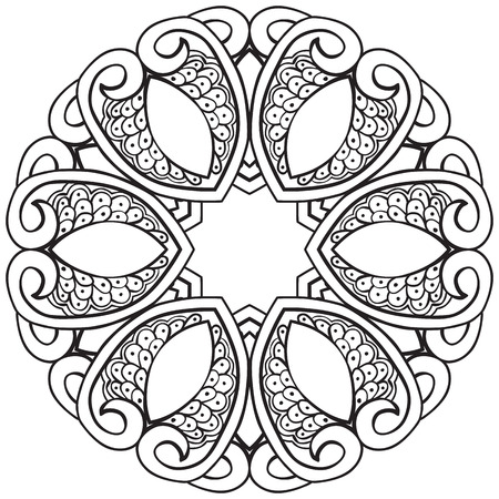 coloring sheet: Hand drawn decorative design element - coloring sheet for adults Illustration