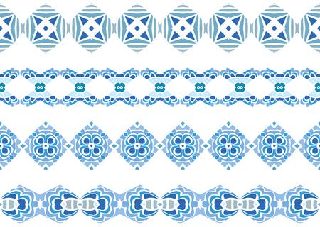 Ensemble de quatre bordures décoratives illustrées en éléments abstraits bleu