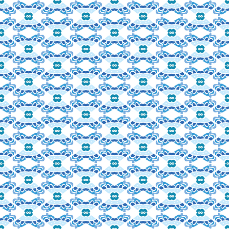 square detail: Seamless illustrated pattern made of abstract blue and elements Illustration