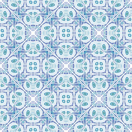 square detail: Seamless illustrated pattern made of abstract blue and violet elements Illustration