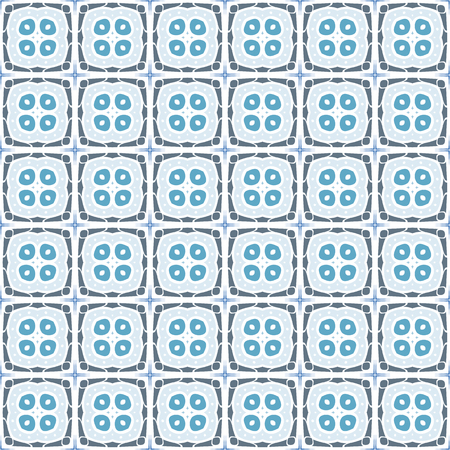 square detail: Seamless illustrated pattern made of abstract blue and grey elements Illustration