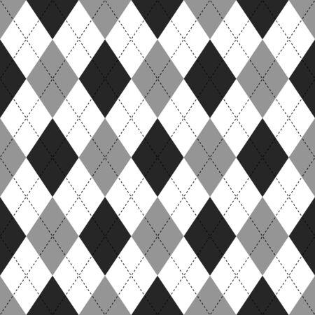 argyle: Seamless illustrated argyle pattern in white, grey and black Illustration