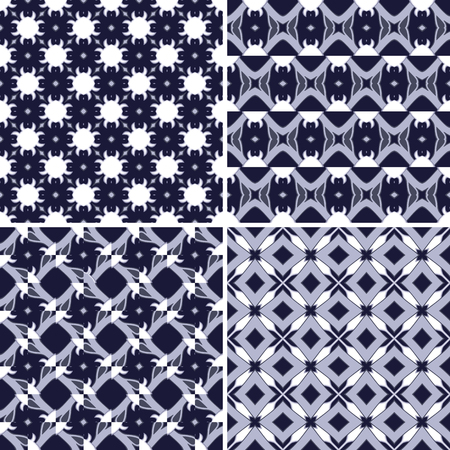 square detail: Set of four seamless pattern illustrations in violet and white