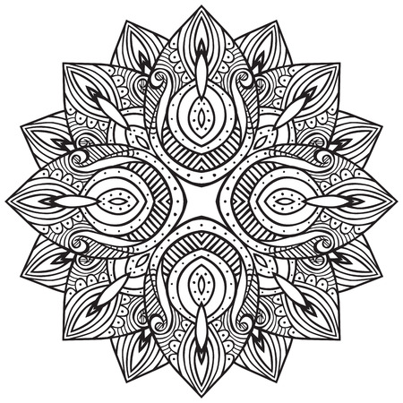 coloring sheet: Seamless hand drawn decorative design element - like stylized flower - coloring sheet for adults Illustration