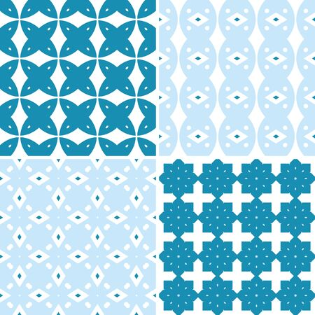 four pattern: Set of four seamless pattern illustrations in blue and white
