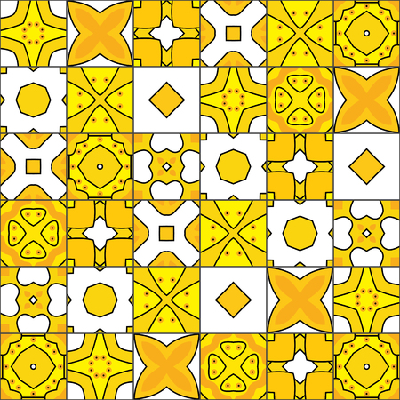 square detail: Seamless pattern illustration in yellow and white Illustration