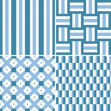 four pattern: Set of four seamless pattern illustrations in blue, turquoise and white