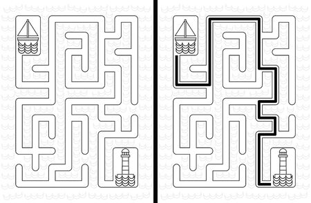 younger: Easy sailboat maze for younger kids with a solution in black and white Illustration
