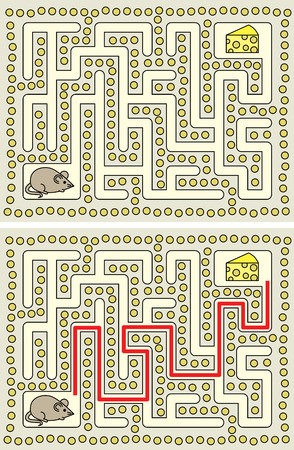 younger: Easy mouse maze for younger kids with a solution Illustration