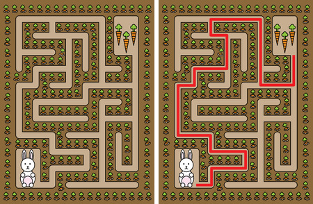 younger: Easy rabbit maze for younger kids with a solution