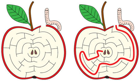 Apple maze for kids with a solution