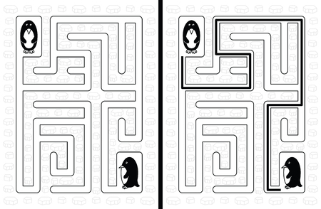 younger: Easy penguin maze for younger kids with a solution in black and white
