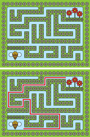 younger: Easy bee maze for younger kids with a solution Illustration