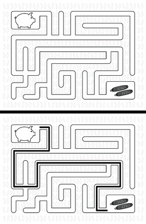 younger: Easy piglet maze for younger kids with a solution in black and white Illustration