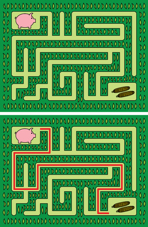 piglet: Easy piglet maze for younger kids with a solution Illustration