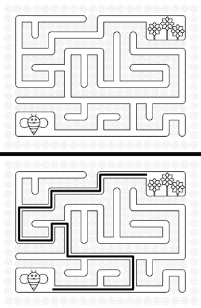 younger: Easy bee maze for younger kids with a solution in black and white