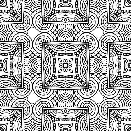 Seamless illustrated pattern made of hand drawn elements - coloring sheet for adults