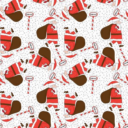 north pole sign: Seamless illustrated pattern made of cartoon Santa Claus Illustration
