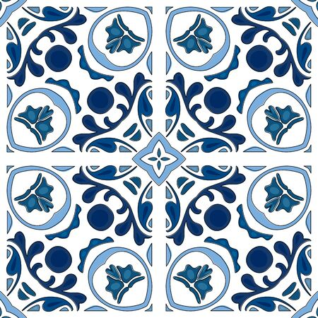 square detail: Seamless pattern illustration in traditional style - like Portuguese tiles