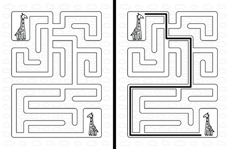 younger: Easy giraffe maze for younger kids with a solution in black and white